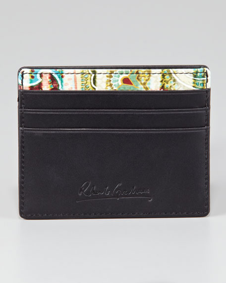 Paisley-Embossed Leather Credit Card Case