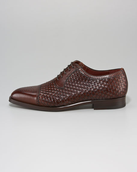 Woven Medallion-Toe Oxford, Brown