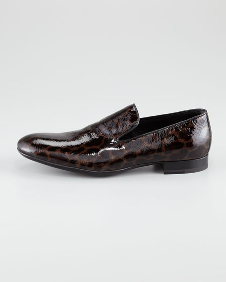 Leopard-Print Patent Loafer