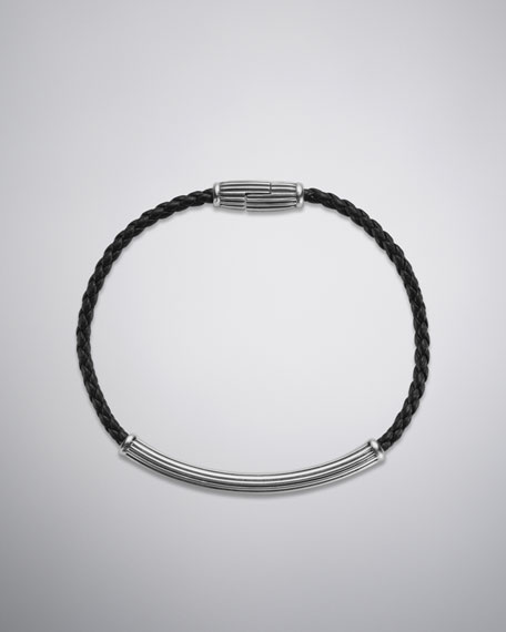 Royal Cord Bracelet, Black Leather, 3mm