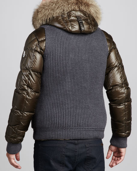 Youri Fur-Trim Hooded Bomber Jacket