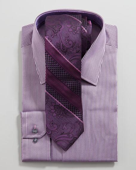 Aren Mini-Stripe Dress Shirt, Purple