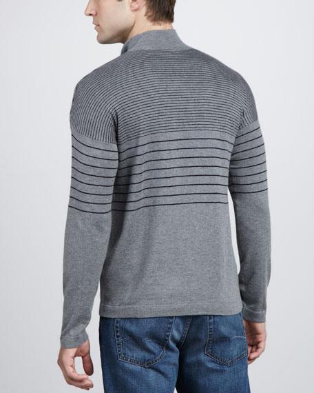 Graduated-Stripe Half-Zip Sweater