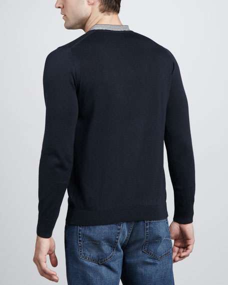 Stripe-Trim V-Neck Sweater
