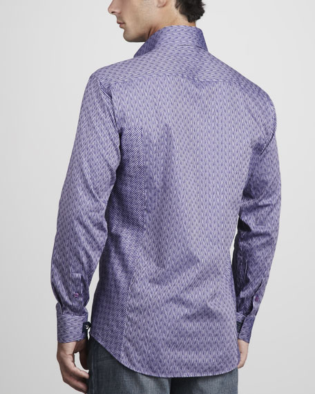 Chain Plaid Sport Shirt, Purple