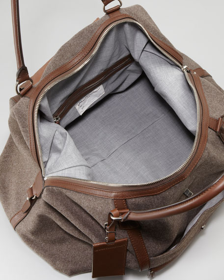 Leather and Flannel Overnight Bag
