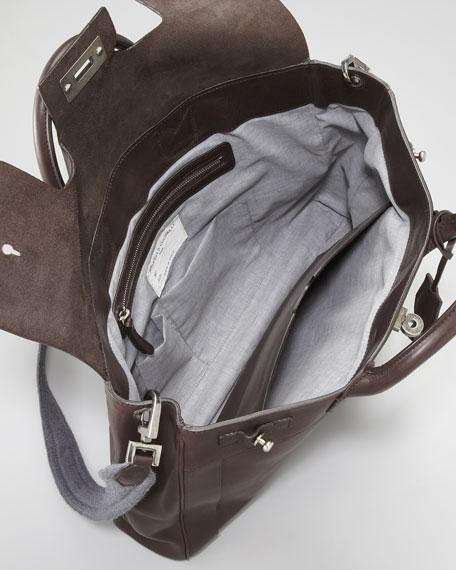 Turn-Lock Leather Briefcase