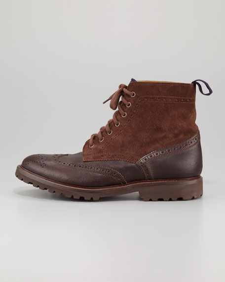 Leather-Suede Brogue Boot