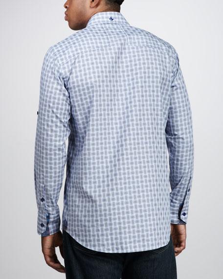 GDavid Check Sport Shirt, Navy