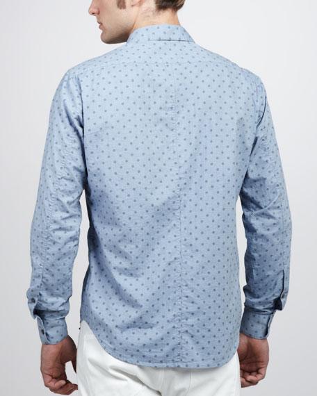 Dot-Print Sport Shirt, Chambray