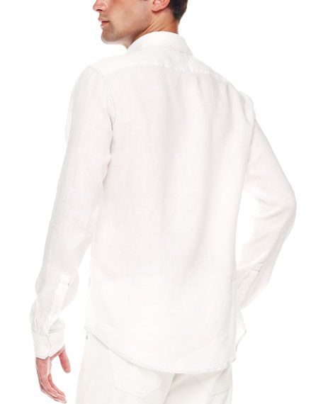 Contrast-Stitch Linen Shirt, White