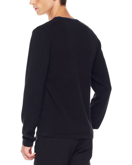 Tipped V-Neck Sweater, Black
