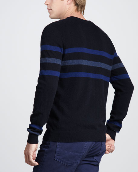 Chest-Stripe Cashmere Sweater