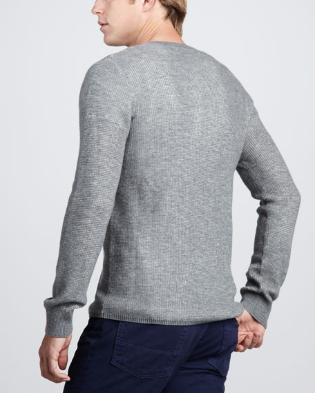 Thermal Henley Sweater, Heather Cinder