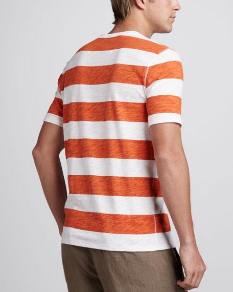 Striped Short-Sleeve Henley, White/Mandarin