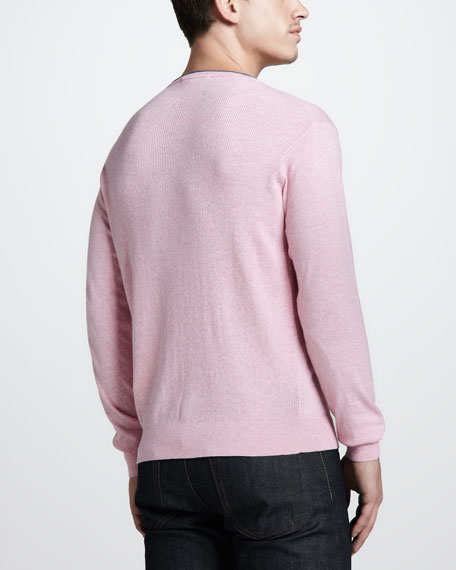 Cotton-Cashmere Crewneck Sweater, Pink