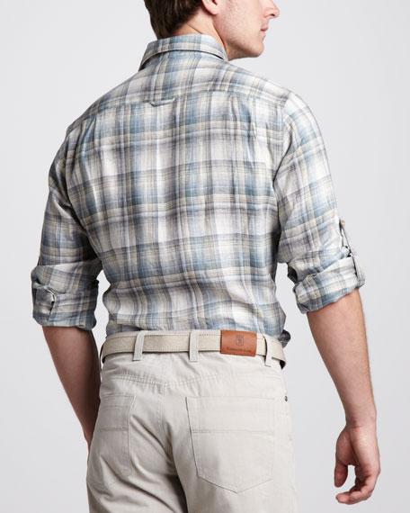 Madras-Print Linen Shirt