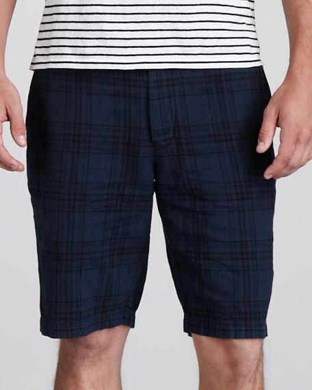 Plaid Cotton/Linen Shorts