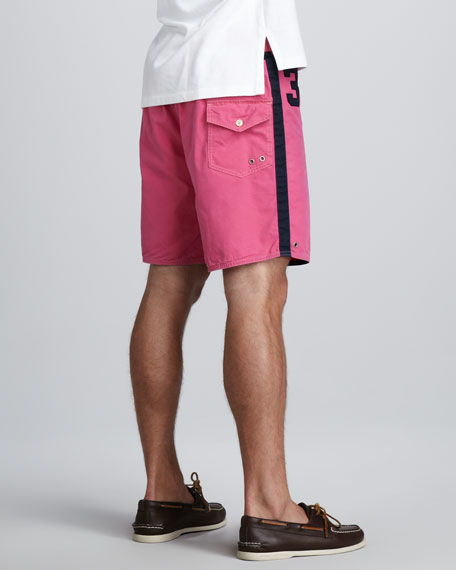 Sanibel Swim Trunks, Pink/Navy