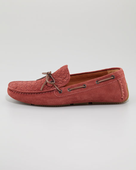 Suede Woven Driver, Light Red