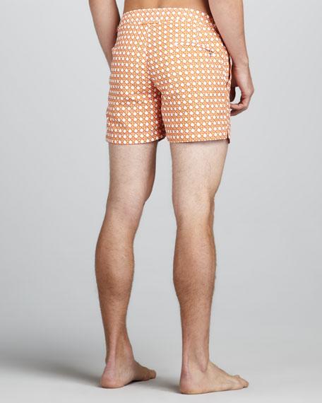 Wicker-Print Swim Shorts, Orange