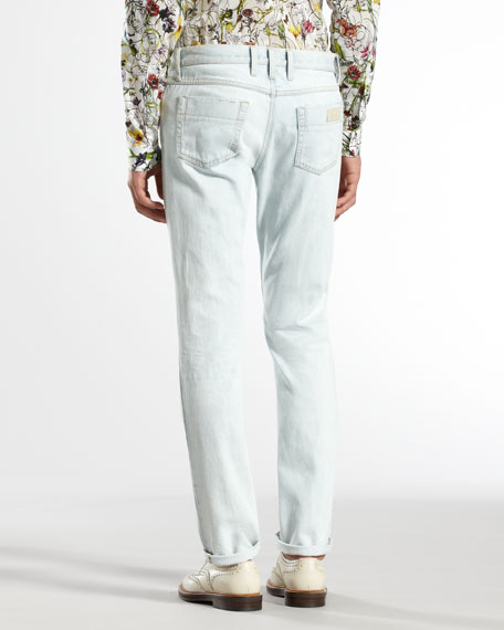 Bleached Five-Pocket Skinny Jeans