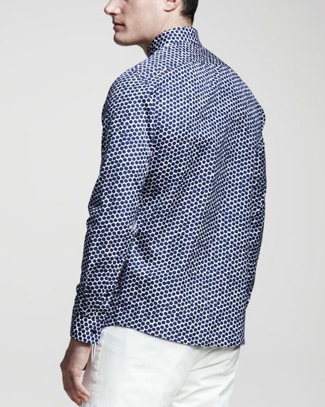 Hexagon-Print Sport Shirt