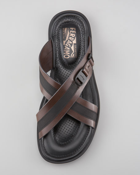Tolis Two-Tone Crisscross Sandal