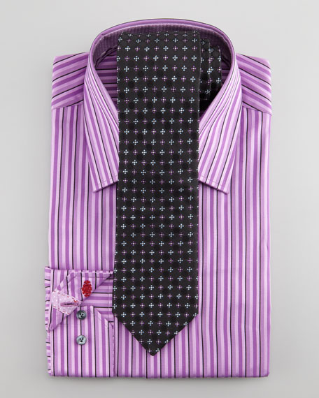 Daly Striped Dress Shirt, Purple