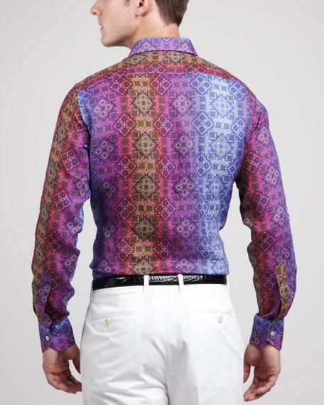 Ombre Medallion-Print Linen Shirt