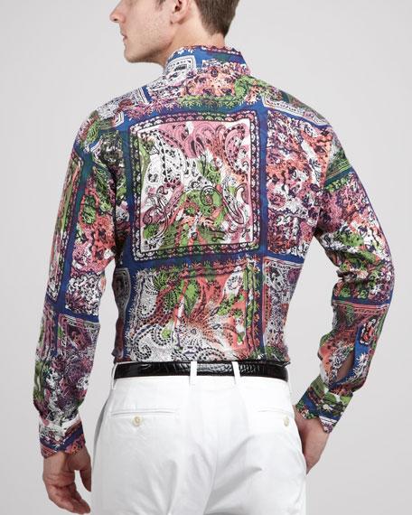 Scarf-Print Linen Shirt