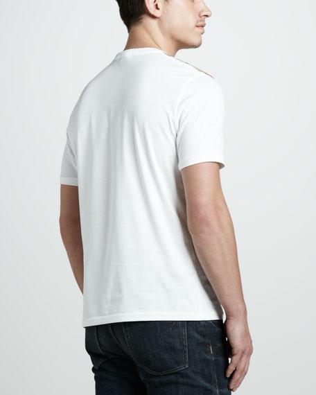 Check-Shoulder Tee, Optic White