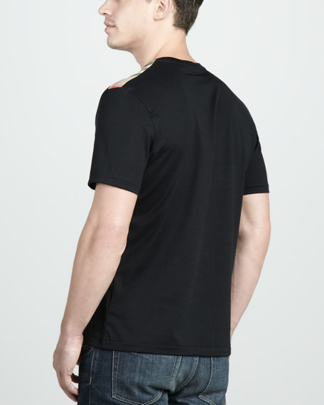 Check-Shoulder Tee, Black