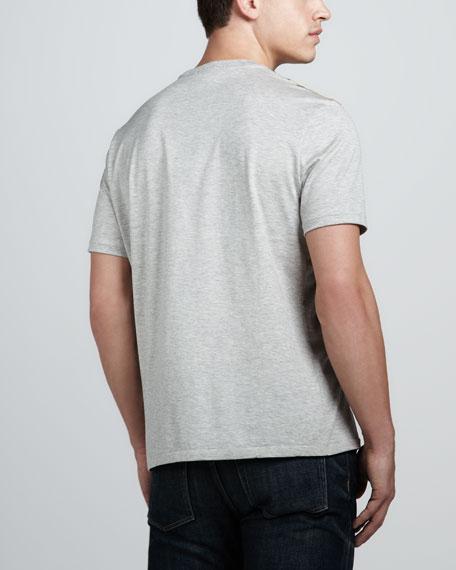 Check-Shoulder Tee, Pale Gray Melange