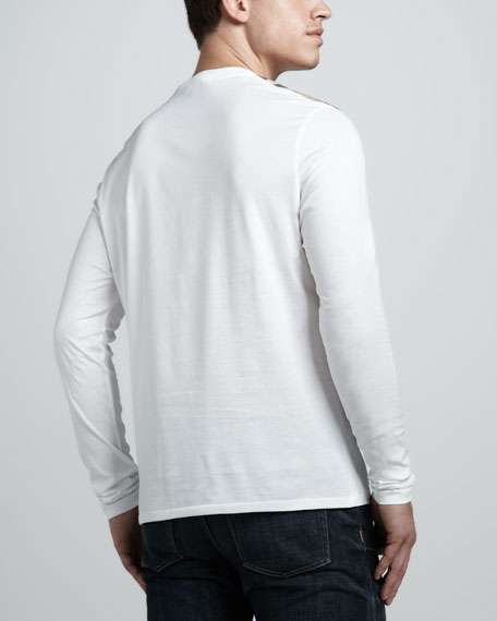 Check-Shoulder Tee, White