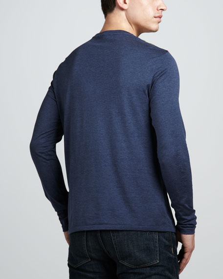 Check-Shoulder Tee, Dark Blue Melange