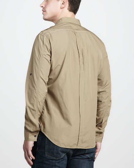 Tab-Sleeve Military Shirt, Pale Bulrush