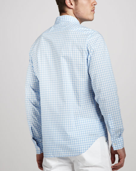 Gingham Sport Shirt, Pale Blue