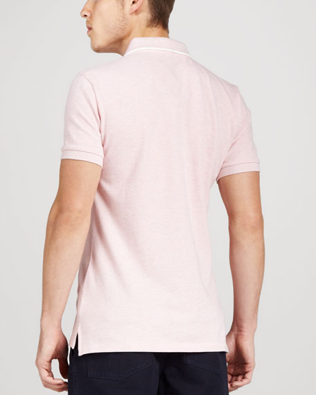 Tipped Pique Polo, Pale Pink Melange