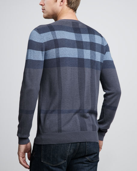Check Crewneck Sweater, Pale Indigo