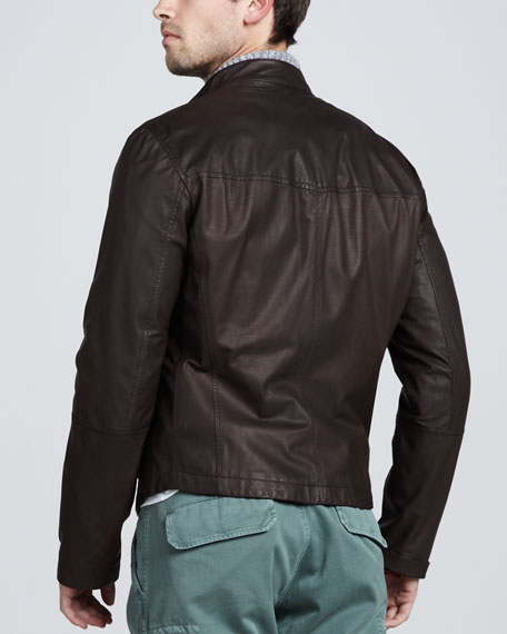 Leather Bomber Jacket, Chocolate