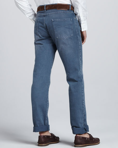 Faded Blue-Gray Jeans