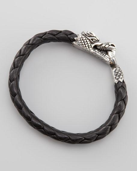 Dragon-Clasp Leather Bracelet, Small