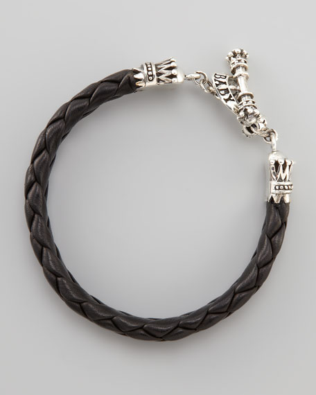 Crown Toggle Leather Bracelet
