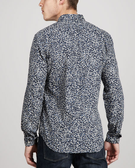 Floral-Print Cashmere/Cotton Shirt