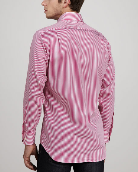 Sateen-Stripe Sport Shirt