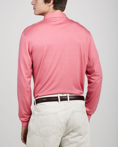Dublin Merino Polo Sweater, Dogwood