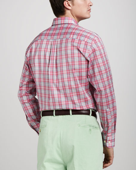 Sienna Plaid Sport Shirt, Retro Pink