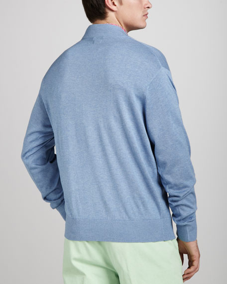 Leather-Trim Zip Sweater, Blue