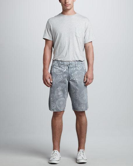 St. Bart's Paisley Shorts, Light Gray/White